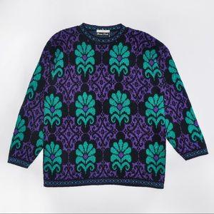 1980's Metallic Purple and Green Lurex Sweater